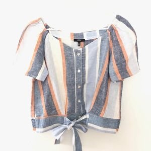 NEW ANTHRO Drew Small Striped Linen Blend Top